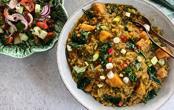 Tamarind, Spinach & Sweet Potato Dahl with Chopped Tomato & Onion Salad