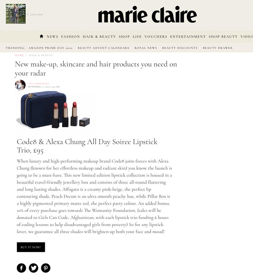 Code8 in Marieclaire.co.uk