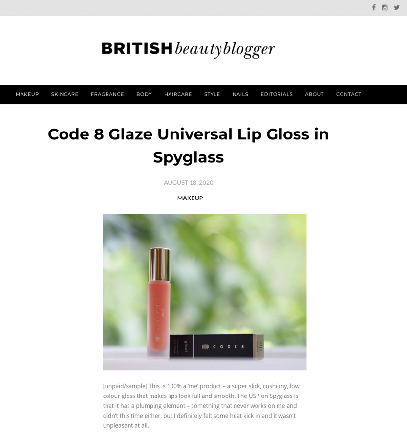 Code8 on British Beauty Blogger